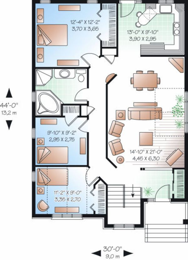Traditional Style House Plan 3 Beds 1 Baths 1253 Sq Ft Plan 23 796 Bungalow House Plans House Plans Bungalow Floor Plans