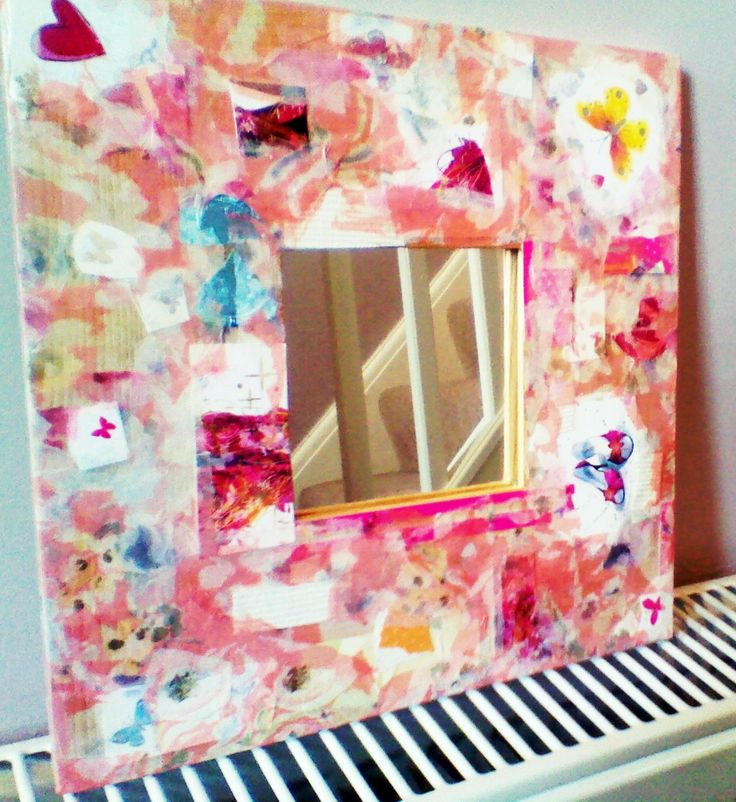 Love playing around with decoupage, Ikea mirrors are good as they have a large wooden frame.