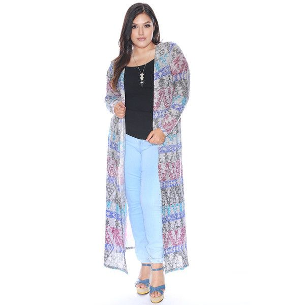 Plus Size Southwestern Print Duster Cardigan ($17) ❤ liked on Polyvore featuring tops, cardigans, print cardigan, patterned cardigans, women's plus size tops, long sleeve cardigan and plus size lightweight cardigan