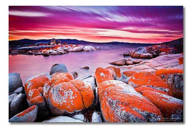 Sunset at Binalong Bay, Bay of Fires, Tasmania. The orange-hued granite is caused by lichen. Gorgeous.