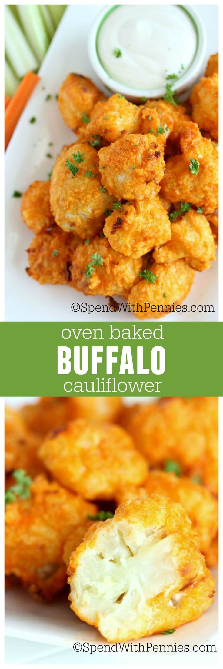 Oven Baked Buffalo Cauliflower - Tender morsels of cauliflower baked in a crispy crust and then loaded with buffalo sauce! If you like wings, you love this leaner tastier snack!