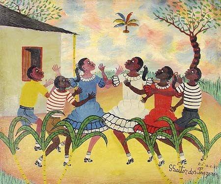Roda de peteca, 1983 Heitor dos Prazeres (Brasil, RJ 1898-1966) óleo sobre tela,  50 x 60cm