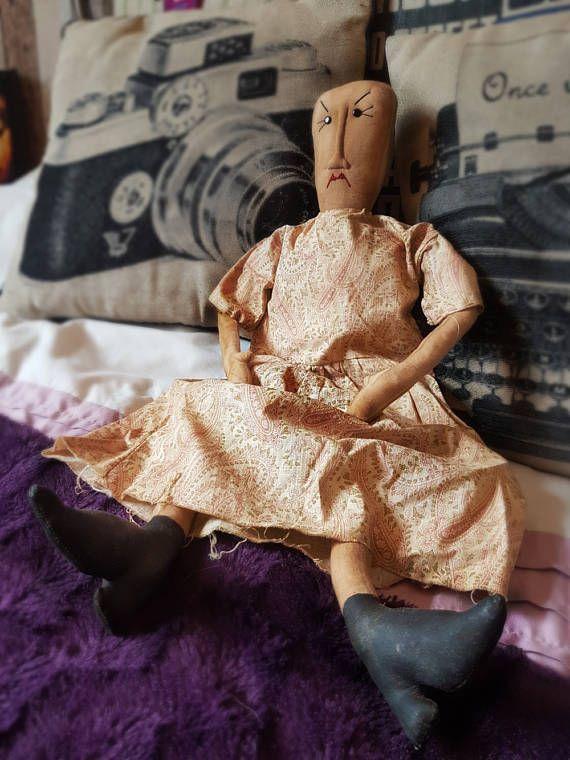 Handmade Primitave Rag Doll, Vexed Face Folk Art Doll, Creepy Doll, Muslin Cloth Rag Doll, Vintage Rag Doll, Gothic Tim Burton style Doll