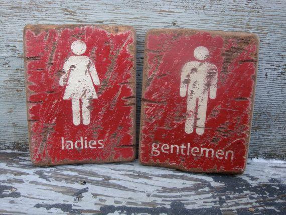 Rustic Distressed Ladies And Gentlemen Restroom Bathroom Signs Wood By Theunpolishedbarn