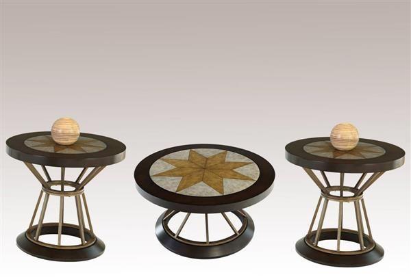 Stargaze Transitional MDF Metal Concrete 3pc Coffee Table Set