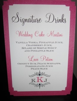 Custom Signature Drink Sign For Wedding Name And Ings From Real Bride Groom