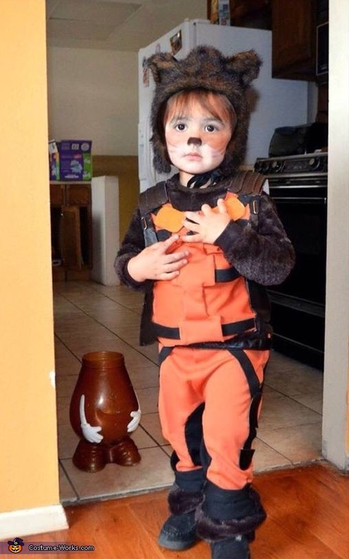 Sandy: Homemade Guardians of the Galaxy Rocket Raccoon costume for my son Ethan. Made it for our local ComicCon and my son loved running around as a mischievous little raccoon :).