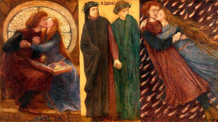 """Dante Gabriel Rossetti, """"Francesca da Rimini"""", watercolor on paper, 1855."""