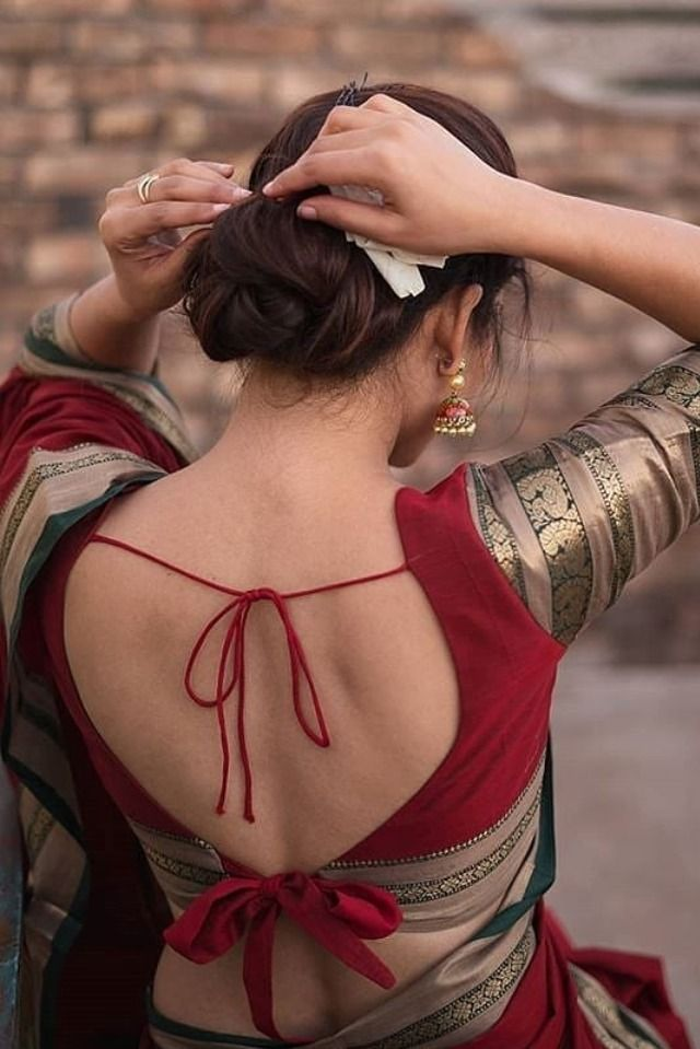 red blouse designs long sleeve | Backless blouse designs, Red blouse  design, Backless blouse