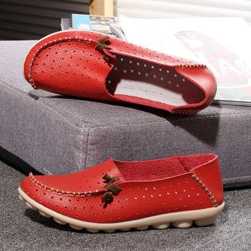 Big Size Hollow Out Breathable Soft Sole Slip On Flat Loafers