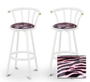 2 Pink Zebra Faux Fur Animal Print Specialty / Custom White Barstools With  Ba.