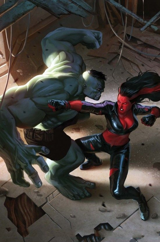 Hulk vs Red She-Hulk by Doug Braithwaite