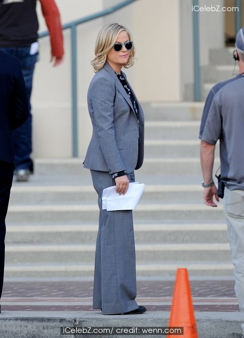 Amy Poehler filming late scenes for the hit tv show