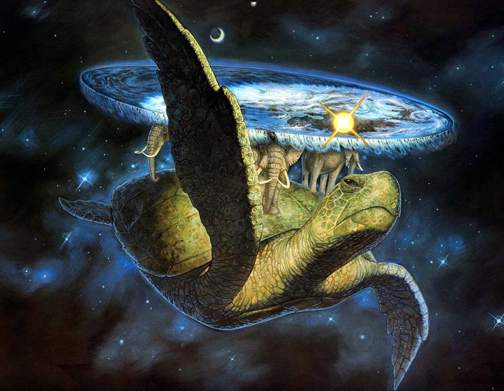 "The Great A'Tuin by Paul Kidby > Great A'Tuin is the Giant Star Turtle (of the fictional species: Chelys galactica) who travels through the Discworld universe's space, carrying four giant elephants (named Berilia, Tubul, Great T'Phon, and Jerakeen) who in turn carry the Discworld. The narration has described A'Tuin as ""the only turtle ever to feature on the Hertzsprung-Russell diagram."" #Pratchett"