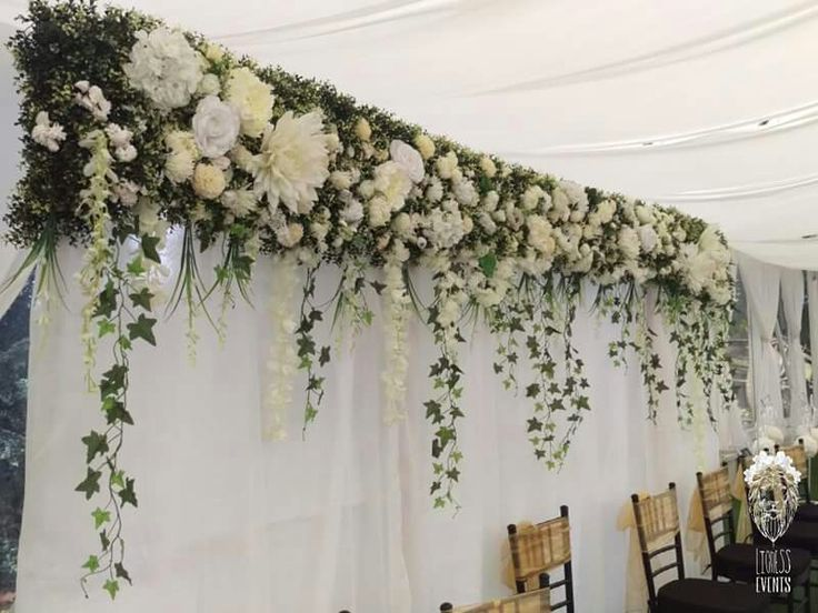 TOP HEDGE FLORAL WALL WITH HANGING VINES LIONESS CREATIVE EVENTS www.facebook.com/lionesscreativeevents