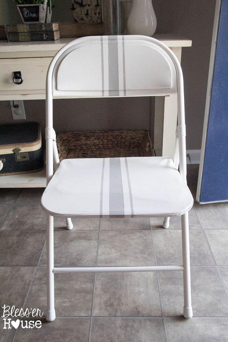 !Easy Grainsack Style Folding Chair Makeover - Bless'er House