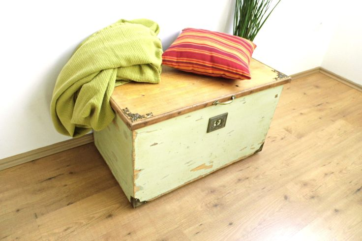 Vintage Storage Bench Green Distressed Coffee Table Wood Trunk Treasure Hope Chest Large Box with Lid Display Case Cottage Farmhouse Decor by WoodHistory on Etsy