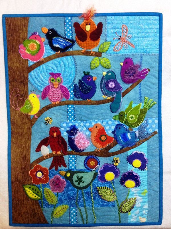 This pattern for wool applique but you could certainly do it in batiks. 14 little birds are in community sitting out on the limbs of a tree. Are they watching, conversing, or having a hen party? Who k