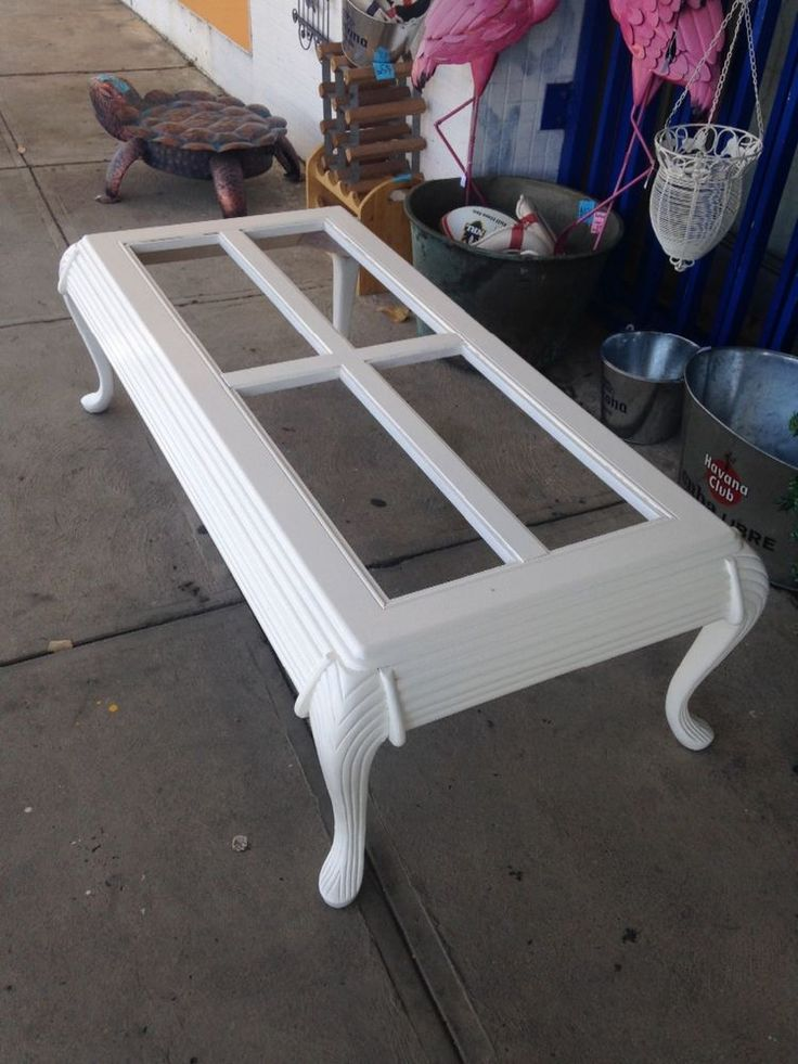 Shabby Chic White Coffee Table Bevelled Glass