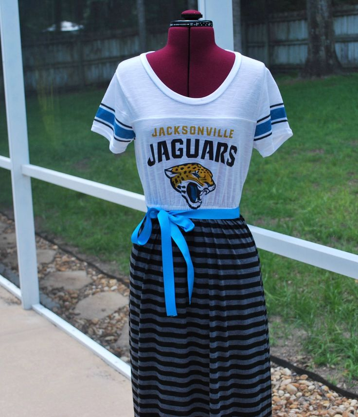 Jacksonville Jaguars Game Day Short Sleeve Dress with ribbon tie Upcycled Shirt Size Medium Ready to ship by gamedaychicflorida on Etsy