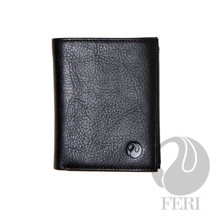 - Small black wallet - Made from high grade leather - double fold closure with snap - 3 Transparent windows for ID or photos - 5 Credit card slots - 1 Bill compartment - Change pocket with snap closure - 2 hidden compartments - Lined with customized FERI lining - Embossed with FERI Swan  Width: 9 cm Height: 11.5 cm