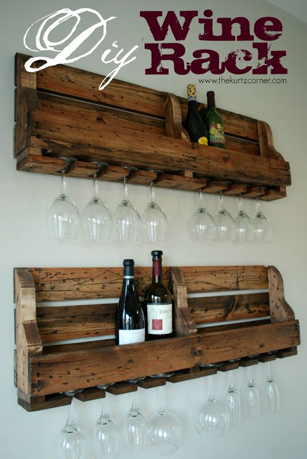 Our first thought a while back to use for beer glasses next to kegerator..can't decide if I want to make it wine rack instead?!  DIY Pallet Wine Bottle and Glasses Wall Rack