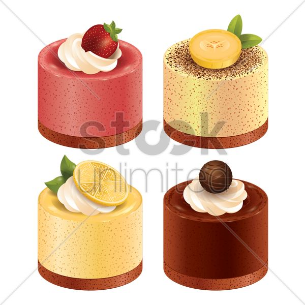 set of cakes vector graphic