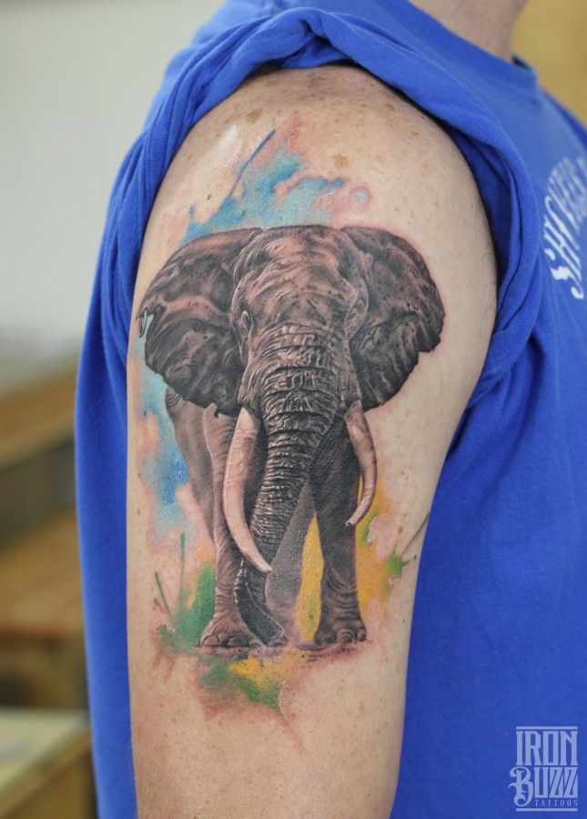 WATERCOLOUR REALISTIC ELEPHANT TATTOO  #elephant #elephants #elephanttattoos #africanelephanttattoo #elephantart #watercolourtattoos #watercolortattoos #painting #bestindiantattooartist #ericjasondsouza #ironbuzztattoos #india #animals #wild #tusk #colours #forest #mammal #biggestanimal
