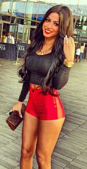 Love the black top! With the red shorts