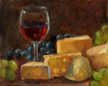 Wine and Cheese Paintings II 8 10 in. Original Oil ...