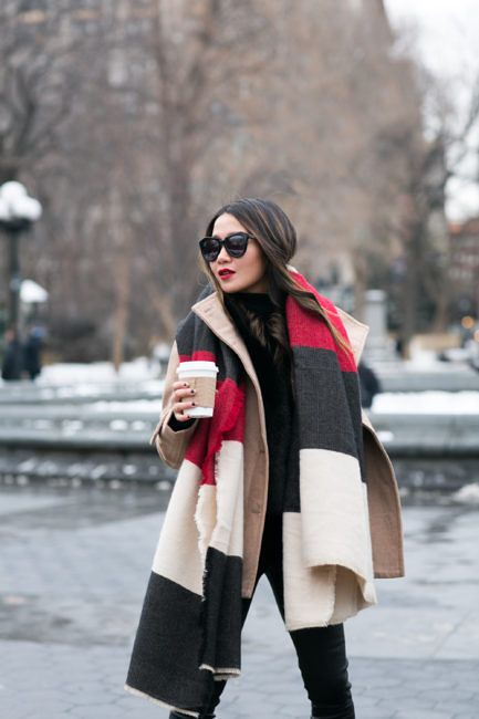 Double Winter :: Layered Peacoat & Striped scarf :: Outfit ::  Top :: Thread & Supply peacoat | Iris and Ink shearling vest | Halogen turtleneck Bottom :: J Brand Bag :: Chanel Shoes :: Aquatalia Accessories :: Zara scarf | Karen Walker sunglasses | Stila 'Fiery' lip color Published: January 11, 2017