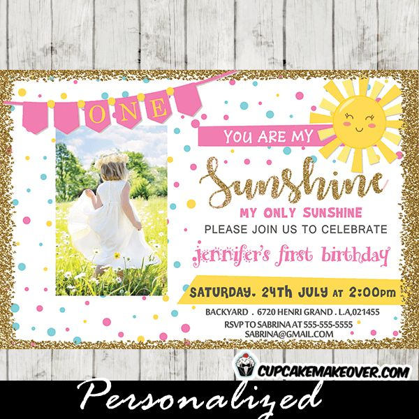 You Are My Sunshine Photo Invitations, Pink Bunting ...