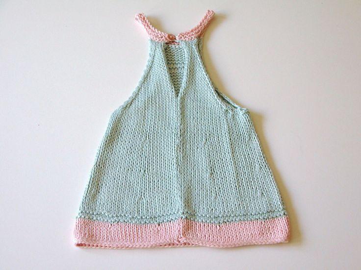 Vestido pichi bicolor verde y rosa, primavera y verano, tejido a mano con hilo bambú de gran calidad, talla 3 meses. Preveriblemente lavar a mano.