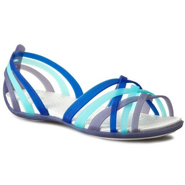 Sandals CROCS Huarache Flat Women 14121 Nautical Navy/Aqua ($11) ❤ liked on Polyvore featuring shoes, sandals, navy blue flat shoes, navy blue flat sandals, croc footwear, navy sandals and navy flat sandals