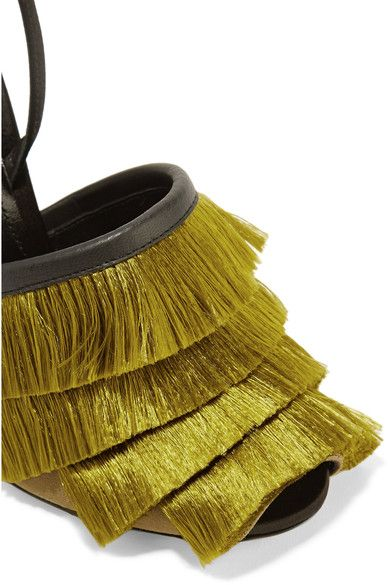 Marco De Vincenzo - Leather-trimmed Fringed Satin Sandals - Chartreuse - IT38.5