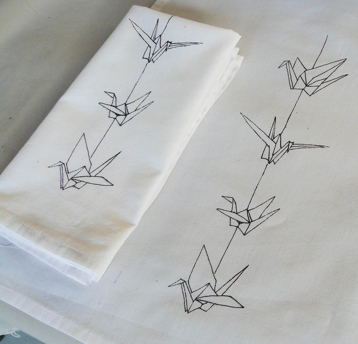 Origami Crane Napkins..... I would make that a tattoo. Inner arm. I like the simplistic look