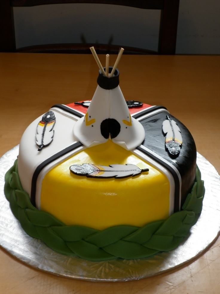 Native American Birthday Cake - It's a Hershey's chocolate cake with vanilla butter cream, covered with fondant.