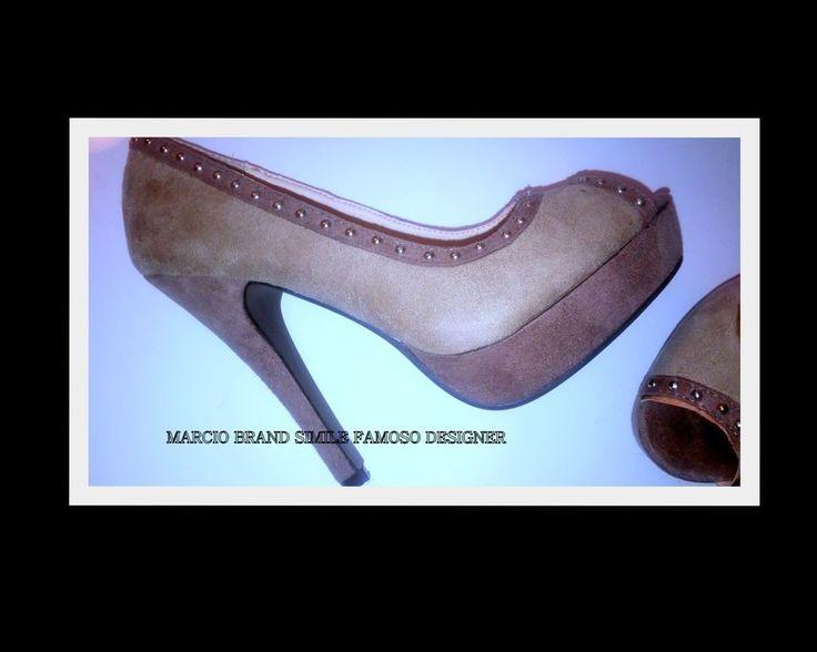 Scarpa DONNA 35 BEIGE-TAUPE simile Brand-Marca Decolté spuntata tacco Borchie