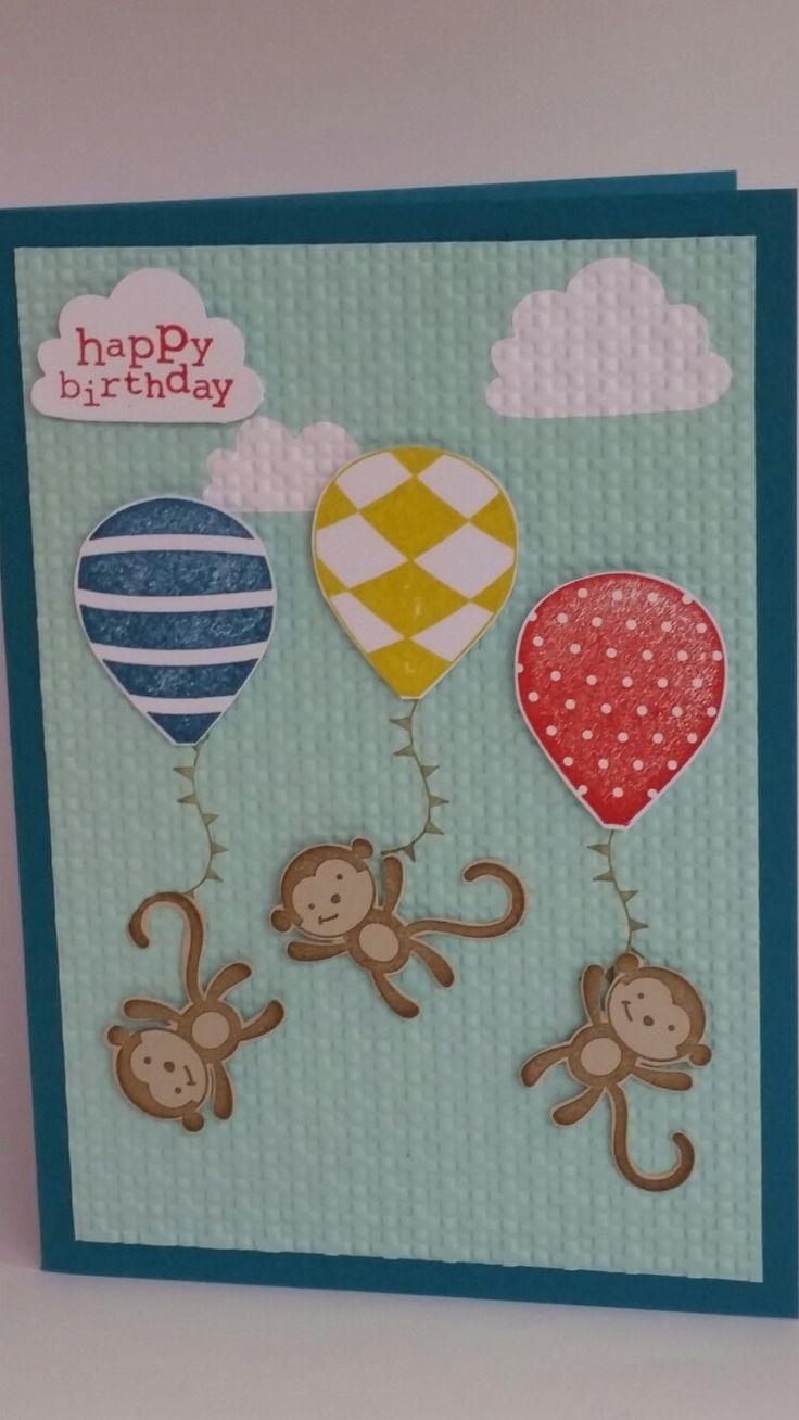 Three balloon Monkeys happy birthday handmade card