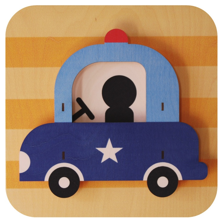 Police Car. Fun wood wall art from Paul Ocepek with a cool 3D pop out effect.