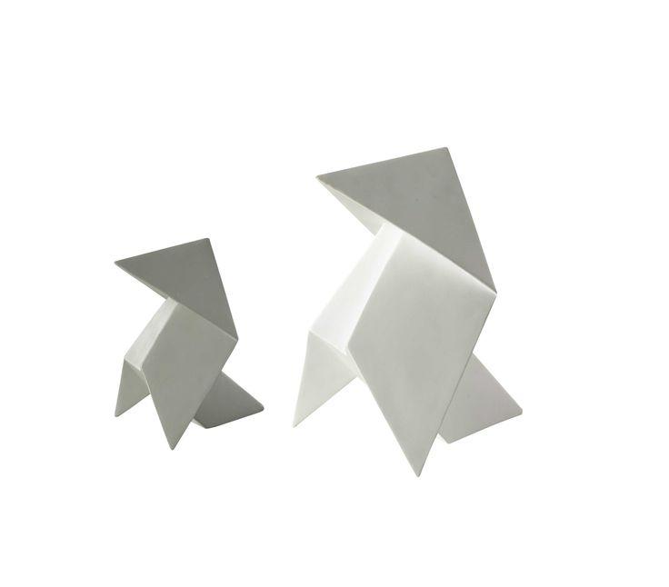 2 pliages origami en résine blanc/gris H 20 cm et H 30 cm DREW | Maisons du Monde
