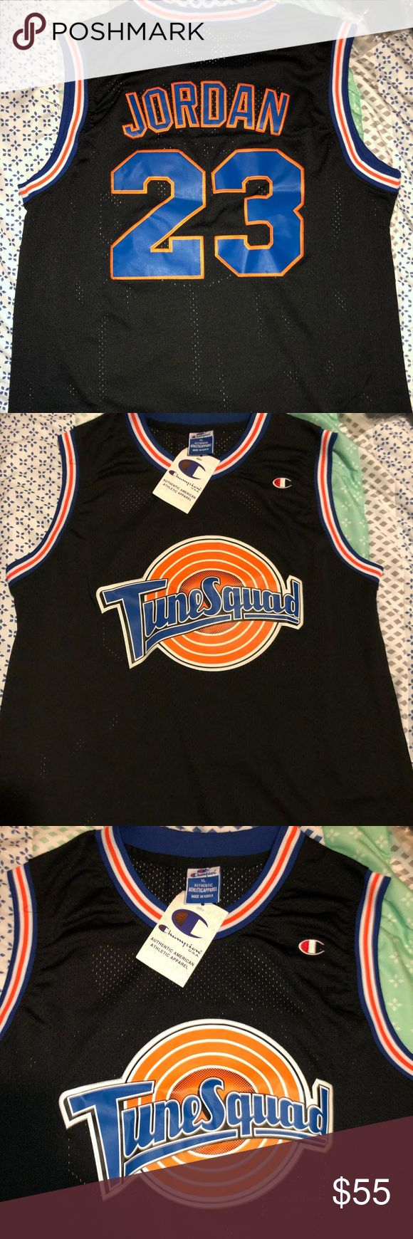 """Champion Michael Jordan Toon Squad Away Jersey,NWT Brand new with tags, Champion Fully Embroidered Michael Jordan #23Toon Squad Road Black jersey from """"Space Jam""""! Champion Shirts Tank Tops"""