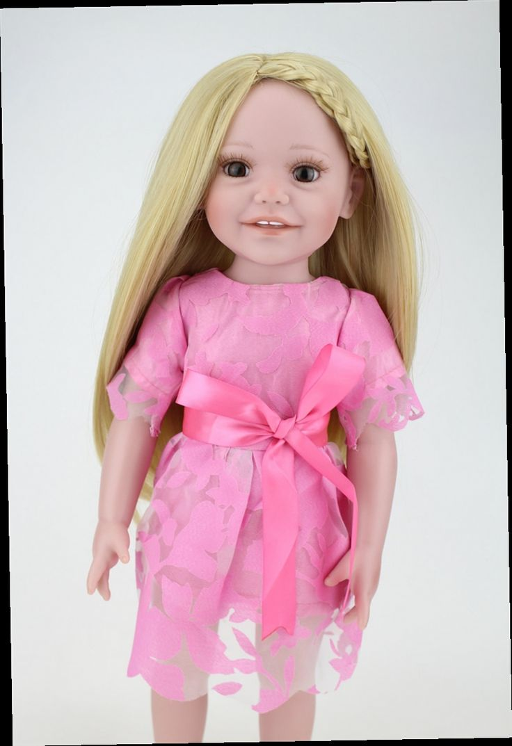 "53.10$  Buy here - http://aliebf.worldwells.pw/go.php?t=32679505430 - ""Full vinyl silicone 18"""" American Girl Doll with Pink Summer Dress As Children's Best Birthday Gift Little Girls' Toys Brinquedos"" 53.10$"