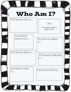 Who Am I? A Beginning of the Year, Get to Know You Activity