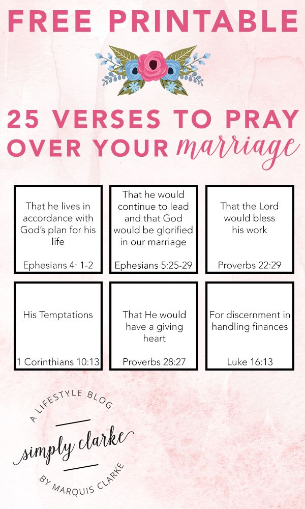 FREE PRINTABLE - 25 Verses To Pray Over Your Marriage