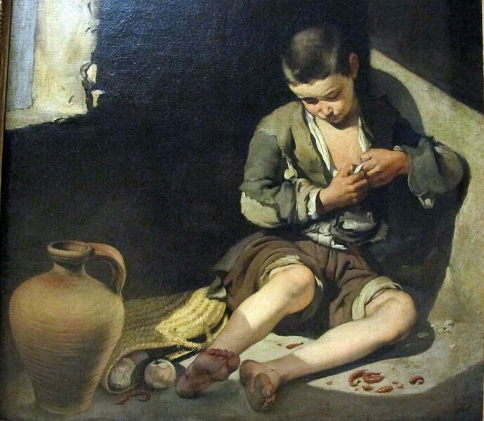 Bartolomé Esteban Murillo(1617–1682)Le jeune mendiant Pittura spagnola nel Louvre, Parigi  Datecirca 1645Mediumoil on canvasDimensions137 × 115 cm (53.9 × 45.3 in)