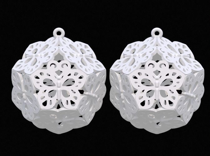 Butterfly Dodecahedron Earrings by DenisS 3d printed jewellery