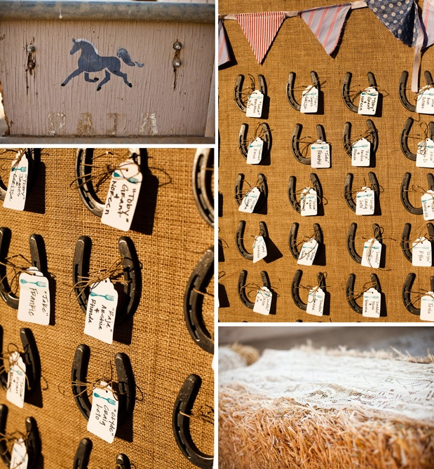 horseshoe escort cards for a good 'ol country wedding. Too bad horseshoes are expensive and I know people would try take 'um home. lol