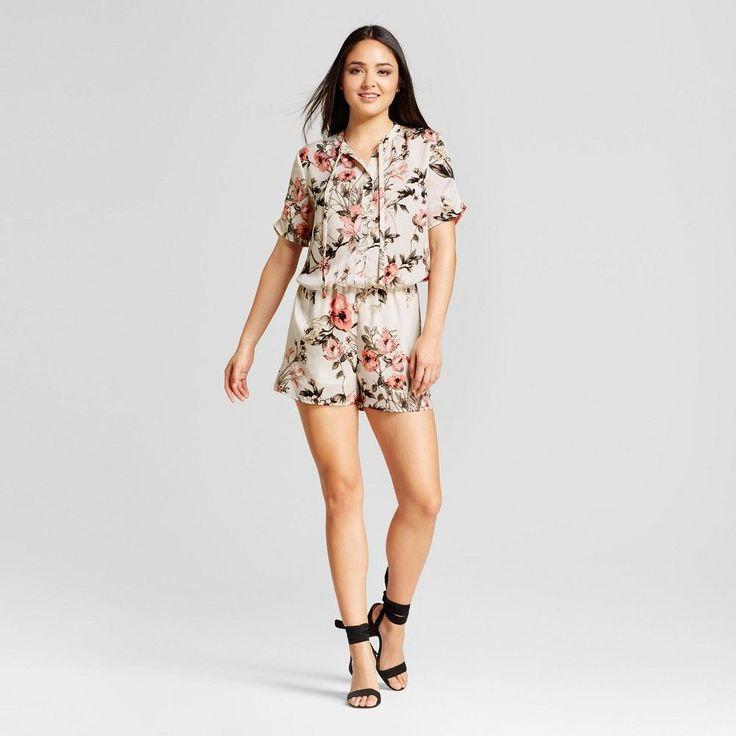 Women's Floral Short Sleeve Romper - Éclair White XL