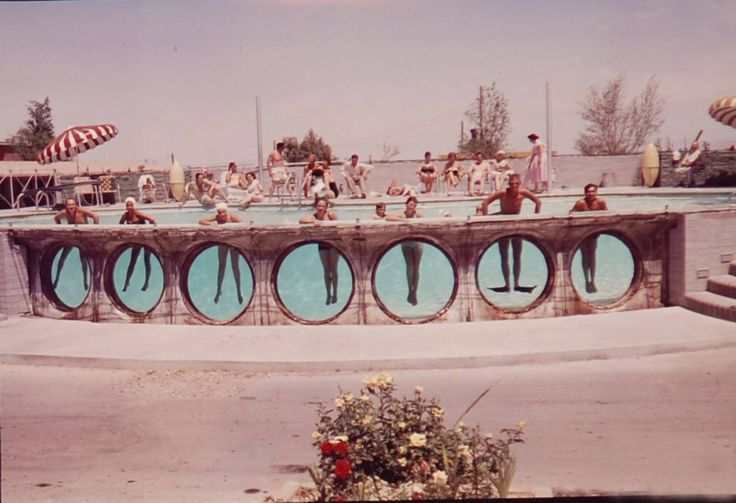 Mirage Motel, Las Vegas, early 1950s ~ VEGAS BABY! Been to Vegas twice. But, long after this was gone! It would be cool to have a pool with sides like this.